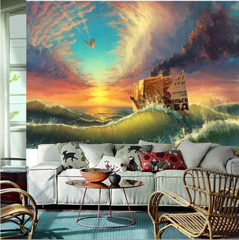 The custom 3D murals,Sea Ships Pictorial art Waves Smoke Nature papel de parede,living room sofa TV wall bedroom wall paper<br>