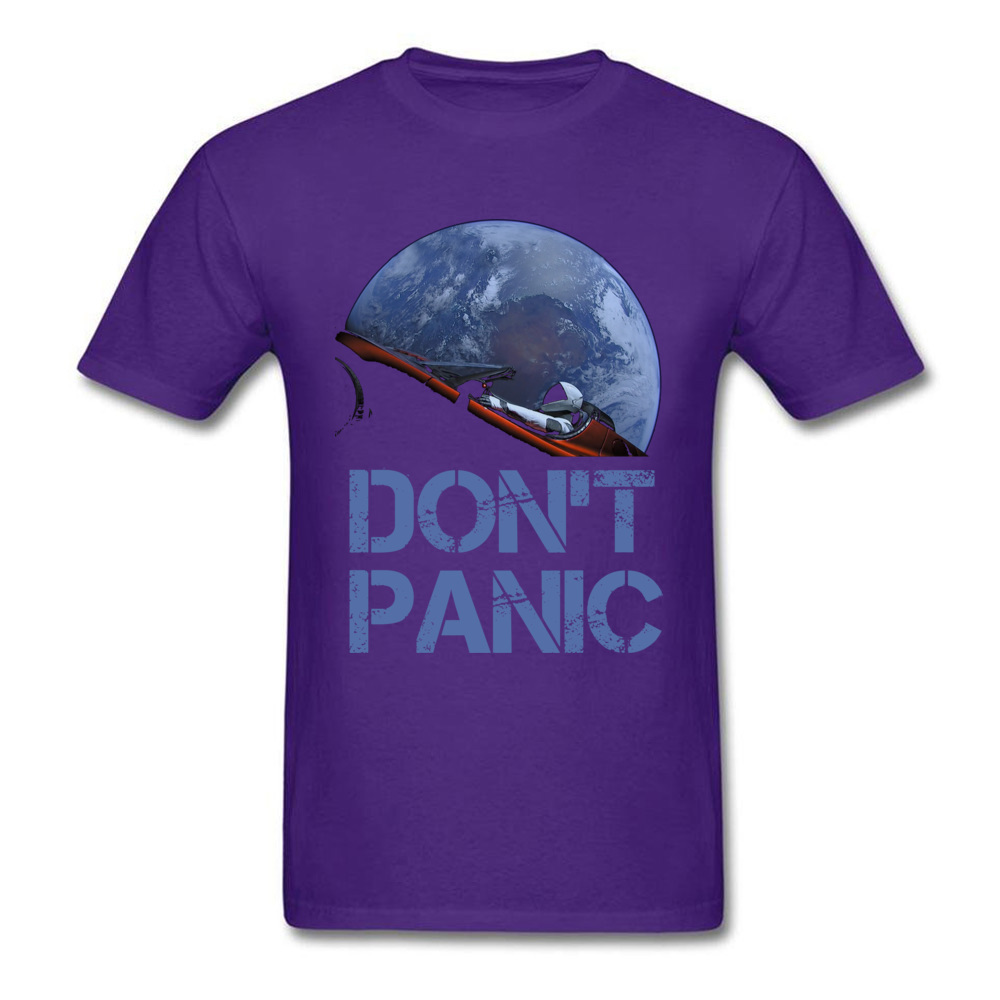 Dont Panic Starman O-Neck T Shirts Summer Tops Tees Short Sleeve New Coming All Cotton Gift Tops T Shirt Europe Men Dont Panic Starman purple