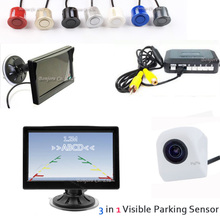 "Wholesale 5"" LCD Car Monitor + CCD Rear View Camera Backup+ Auto Parking Sensor Video Display Reverse Assistance 4 Radars System"