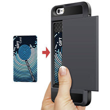 Slide Wallet Credit Card Slot Hard PC Phone Case For iPhone 6 7 6S Plus 5 s 5S SE 5C Dual Layer TPU Armor Shockproof Back Cover