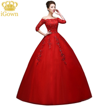 Ivory/Red princess Boat neck Wedding Dress Three Quarter Shoulder Wedding Dress lace vintage wedding dress formal dress F281