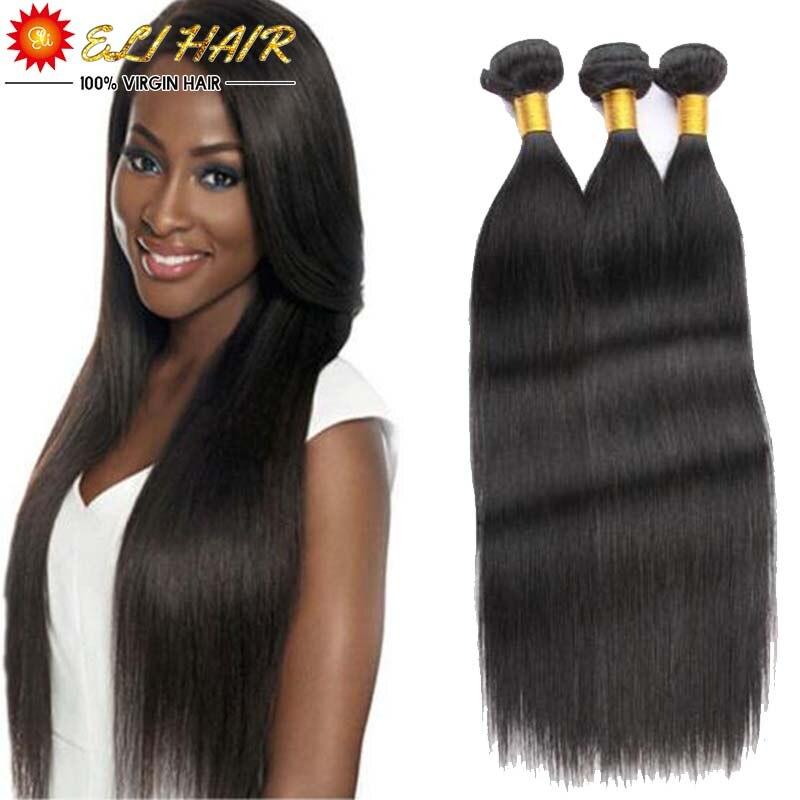 Best Quality 8A Brazilian Virgin Hair Straight With Free Closure 8--26 Eli Queen Brazilian Human Hair Weave Bundles 3Pcs Lot<br><br>Aliexpress