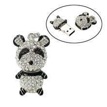 Diamond panda usb flash drives thumb pendrive crystal animal u disk necklace usb memory stick 4GB 8GB 16GB 32GB 64GB(China)