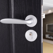 Silver Durable Aluminum Door Handle Lock Front Back Lever Latch Home Security with Keys 1PC with Accessories