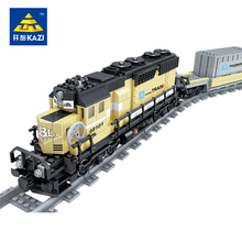 New Battery Powered Maersk Train Container Train diesel-electric freight train Building Blocks educational toys for children(China)