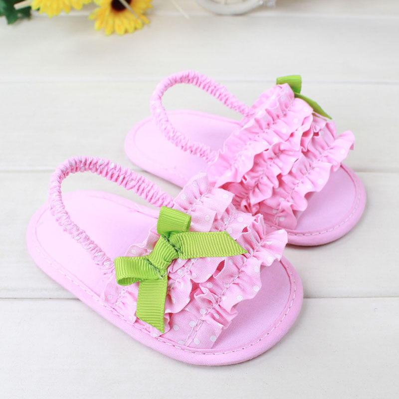 2017 Summer Style New Pink Baby Girls First Walkers Indoor Elastic Lace Princess Slippers Prewalkers Shoes<br><br>Aliexpress