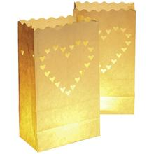 10pcs Novelty Heart Paper Candle Bag Lantern Wedding Favors For Wedding Party /Home Decoration(China)