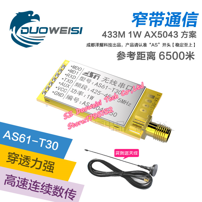 Narrowband transmission communication | 433MHz wireless serial port module | pass through | SX1278 AS61-T30<br>