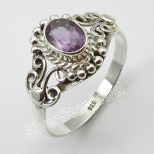 SOLID SILVER Amethysts Collectible Ring Size 9.75 ! Discount Jewelry(China)