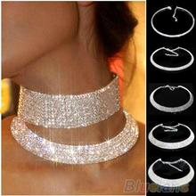 Hot Sale New Women Crystal Rhinestone Collar Necklace Choker Necklaces Wedding Birthday Jewelry 01RB(China)