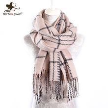 Marte&Joven Luxury Brand Imitation Cashmere Plaid Scarf Women Classic Blends Soft Warm Winter Shawl Pashmina with Long Tassels(China)