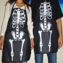 Hot Sale Gothic Chef Bib Halloween Skeleton bones costume apron Hostess Gift Decoration Fashion Popular Apron