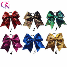 "7"" Reversible Mermaid Sequin Cheer Bows With Ponytail Holder For Girls Kids Handmade Bling Elastic Hair Bows Hair Accessories"