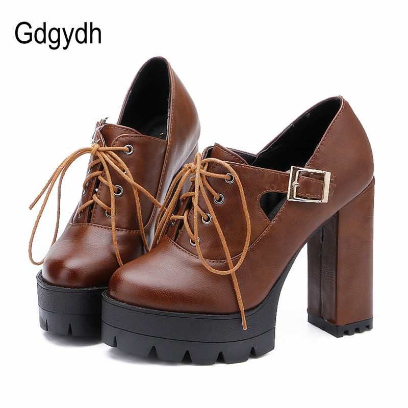 Gdgydh 2017 Spring Fashion Buckle Women Pumps Platform Thick High Heels Single Shoes Lacing Leather Plus Size 43 Good Quality<br>