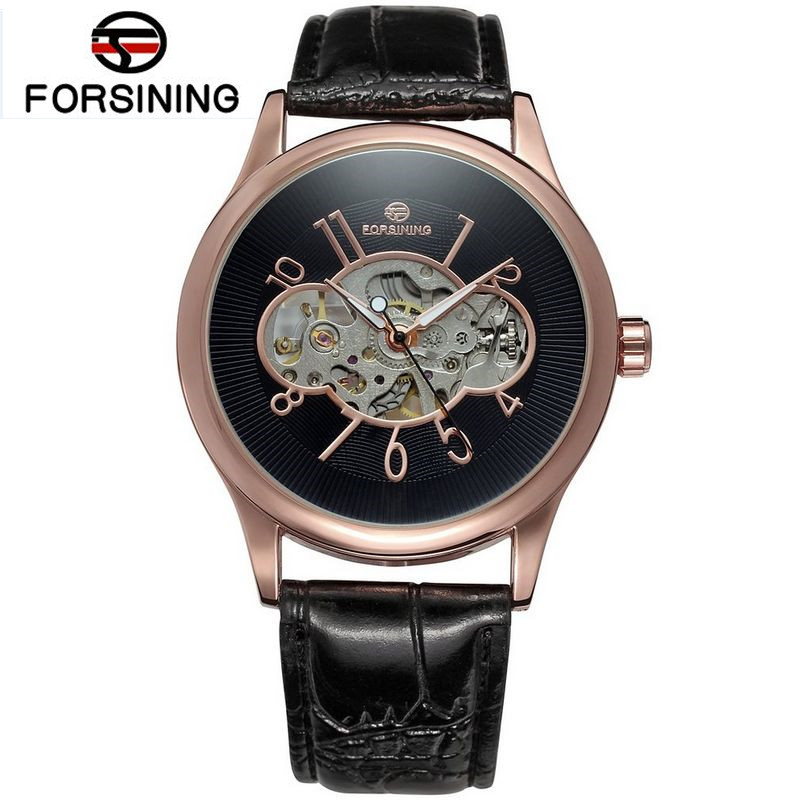 Forsining Watch Relogio Masculino Mens Skeleton Rose Gold Dial Mechanical Hand Wind Watches Leather Wristwatch Free Ship<br><br>Aliexpress