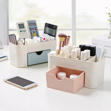 New transparent plastic makeup organizer storage box multipurpose candy color office sundries cosmetic drawer container