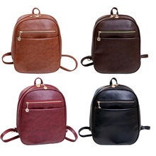 Vintage PU Leather Backpack School Bag Small Shoulder Bags Luxury Casual Stylish Backpacks for Teenage Girls BS88