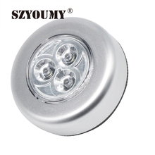 SZYOUMY  Small LED Night Light Wall Light Kitchen Cabinet Closet Lighting 3 LED Batteries Powered Sticker Tap Touch Lamps