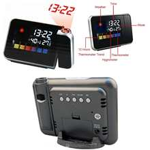 Digital LCD LED Time Projector Snooze Colorful Alarm Clock Weather Temperature(China)