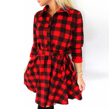 2017 Autumn Bandage Women Plaid Check Print Shirt Dress Mini Long Sleeve Ladis Dress Vestidos Mid Robe Femme Ete Vestidos