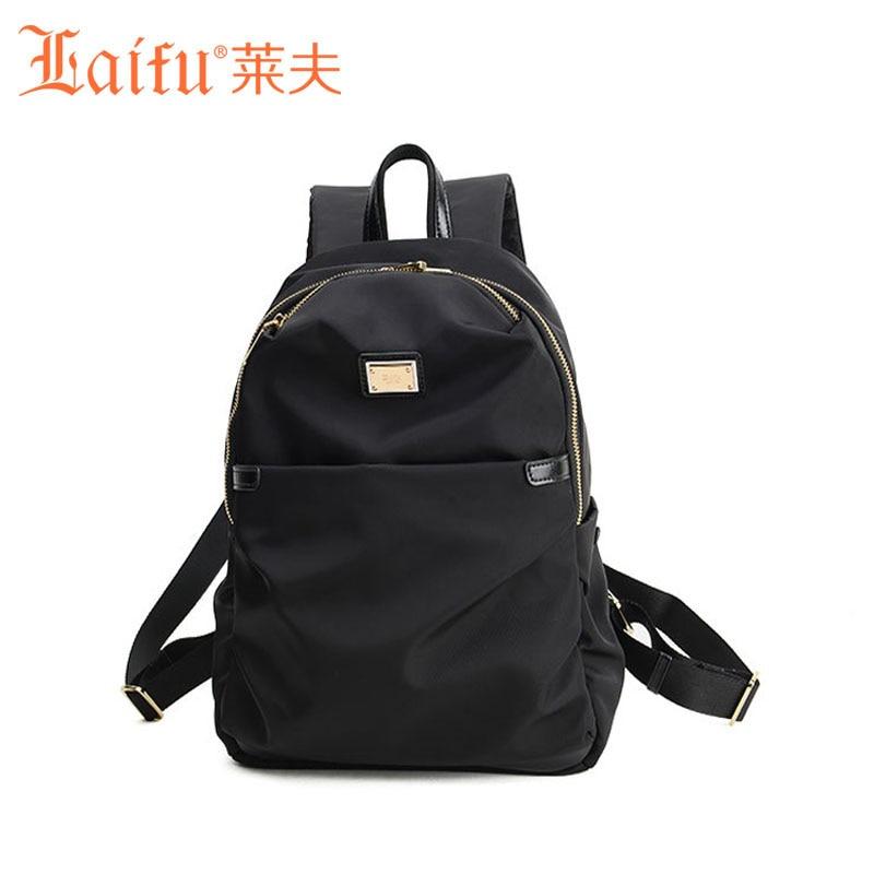 Laifu Brand Design Women Nylon Backpack Ladies Large Capacity Tablet Bag Teenage Girls School Bag   Waterproof Black Purple<br><br>Aliexpress