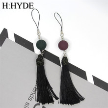 H:HYDE 2 colors red/green stone pendant keyring black cotton tassel keychain for women bag Mobile phone charms jewelry
