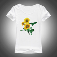 2016 summer fashion t shirt women  Plant flowers Sunflower printed cotton short sleeve tops tees camiseta 1884