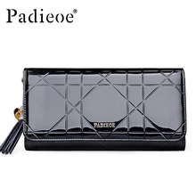 Padieoe Women's Handbag Famous Brand Split Cow Leather Long Wallet for Female Zipper Closure Coin Purse Women Card Holder(China)