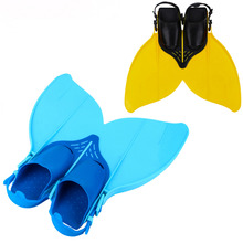 Soft Silicone Swimming Fins Adjustable Fish Tail Flipper Monofin Diving Tail Feet kids swimming Shoes Teens Youth Swim Training(China)