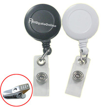 "50 Reel Retractable Badge Alligator Clip 32mm 1.25"" for ID card Holder ID Solid YOYO White or Black WS(China)"
