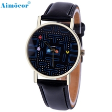 Game Pattern Leather Band Analog Quartz Vogue Wrist Watch Relojes Hombre Relogio Masculino Z509 5Down(China)