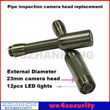 23mm Pipe Drain Sewer Inspection Camera Head Replacement With 12pcs LED Lights For Pipeline Plumbing Snake Camera Repair