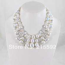 Graceful 3 Rows Shell Pearl Necklace Bridal Shell Pearl Jewellery  Beaded Crystal Multilayers Necklace Free Shipping SP001