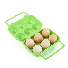 Portable 6 Eggs Plastic Container Holder Plastic Folding Egg Storage Box Handle Case outdoor egg carrier box drop shipping(China)