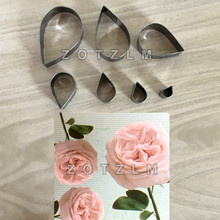 7 pcs/lot Austen Rose Flower Stainless Steel Cookie Cutters Sandwich Fruit Cake Vegetable Biscuit Mold Baking Tools JSM014(China)