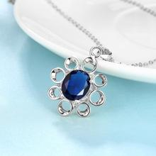 Women's Silver Plated Blue Unique Zircon Pendant Necklace Chain Fashion Fine Jewelry Wholesale Gifts Collection For Women