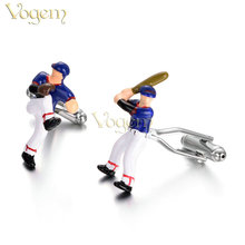 VOGEM Playing Baseball Cufflinks Novelty Luxury Brand Design Enamel Game Player Cuff Buttons Men Best Friend Birthday Present(China)