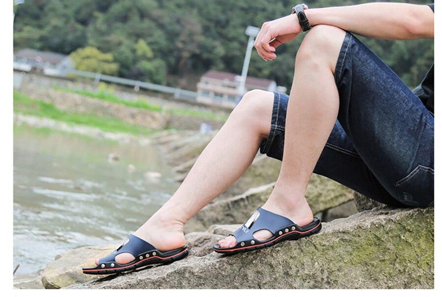 Plus Size Summer Slippers Outdoor Men Casual Sandals Beach Shoes Split Leather Non-Slip Flip Flops Mens Flats Euro 38-45 DR007 13 Online shopping Bangladesh