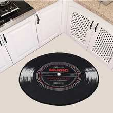 Bedroom Rug Carpets Floor-Mat Vinyl Record Soft-Fabric Round Music-Printed Home-Decor