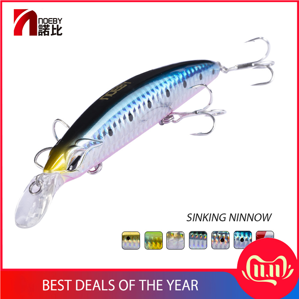6Pcs Minnow Plug Hard Lure Crankbait 5″ Saltwater Stickbait Bass Pike Fishing