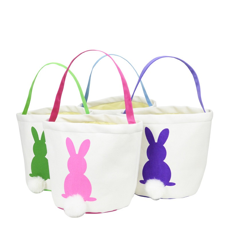 2020 Easter Bunny Basket Eggs Bags Rabbit Candy Bag with Handles, Bunny Tote Bag Bucket for Easter Eggs Candy Toys Gifts