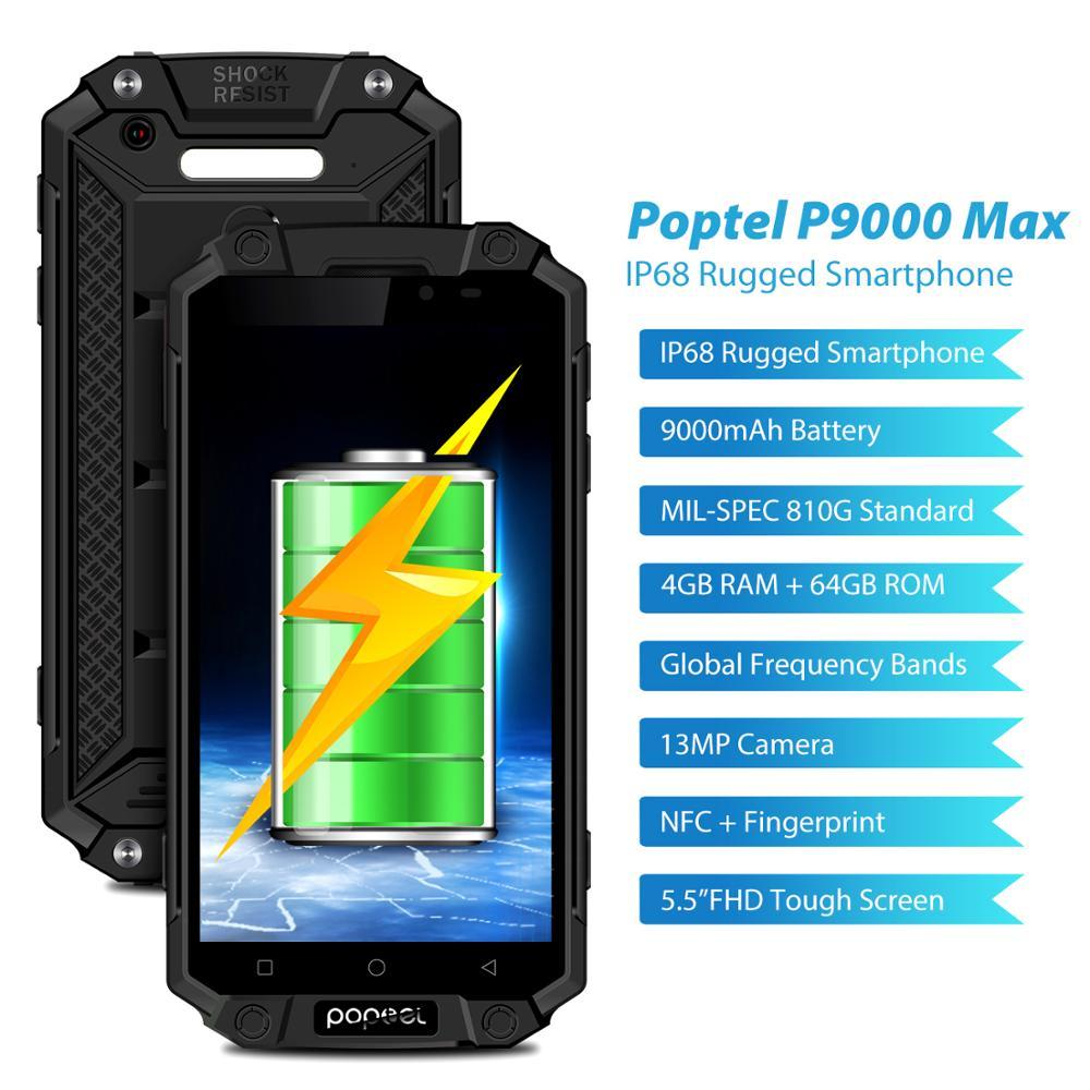 Купить IP68 Водонепроницаемый Прочный внешний аккумулятор для смартфона телефон 9000 мАч 4G LTE смартфон на базе Android Poptel p9000 max 4G/64G NFC мобильный телефон на Алиэкспресс