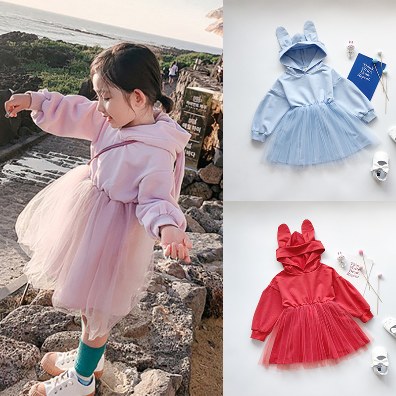 2019 Autumn New Baby Girls Hoodies Dress 2-8T Solid Color Bunny Ears Mesh Stitching Hoody Princess Children Dress Long Sleeve