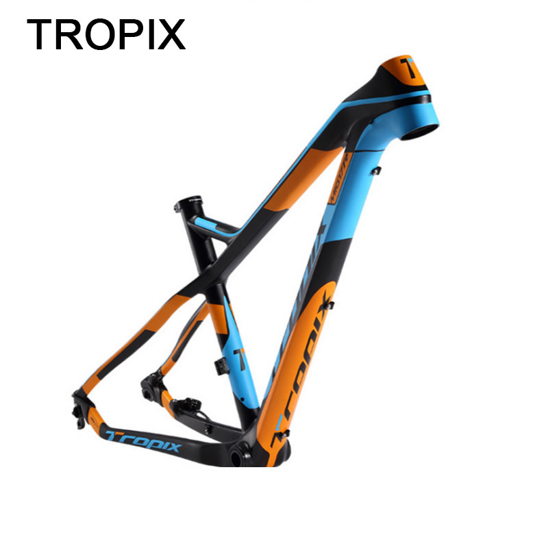 Tropix Carbon Mountain Bike Frame 27.5er 142mm*12mm thru axle bicycle frame T800 carbon fibre 15 17inch bb90 650B MTB xc 2019new title=