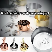 Measuring-Cups Spoons-Set Kitchen Baking 8-Engraved-Measurements Stainless-Steel