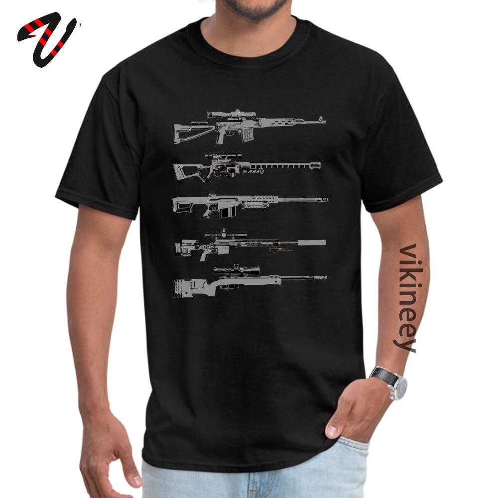 100% Cotton Men Short Sleeve Sniper Rifles Tshirts Design Tops Shirt Retro Design O Neck T-shirts Wholesale Sniper Rifles 12799 black