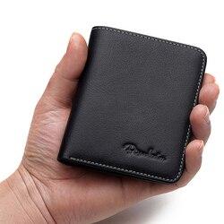 Мужской кошелек BISON DENIM, черный тонкий мини-кошелек из натуральной воловьей кожи, держатель для карт, N4429