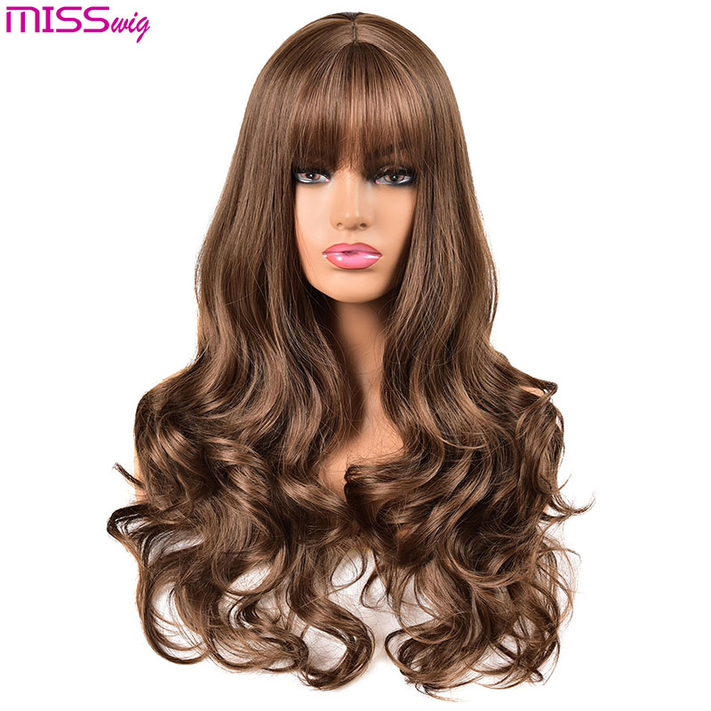 MISS WIG Long Wavy Wigs for Black Women African American Synthetic Hair pink Brown Wigs with Bangs Heat Resistant Wig