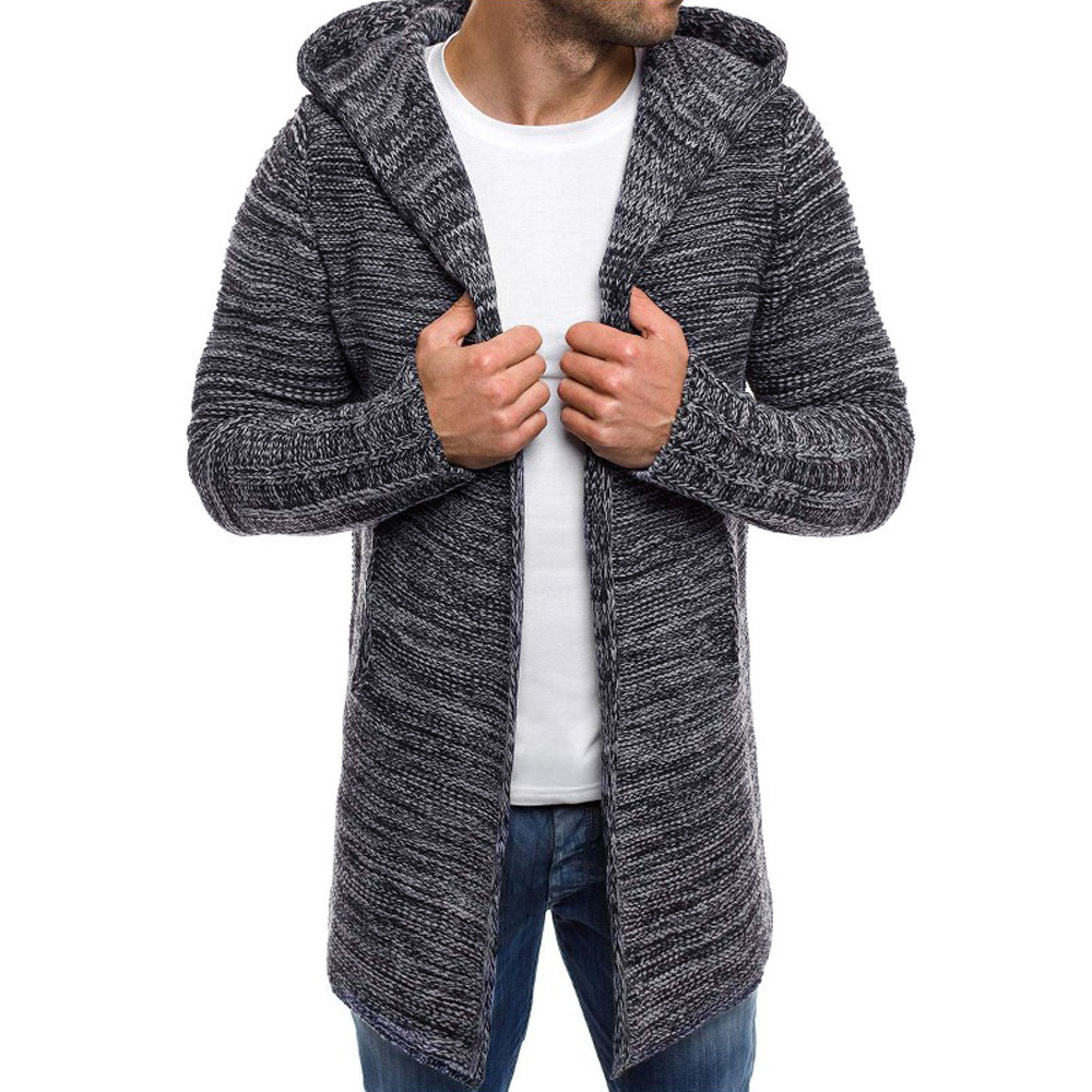 Jacket Coat Cardigan Knitwear Trench Male Winter Men's Warm Long for Jaqueta Slim Stylish title=