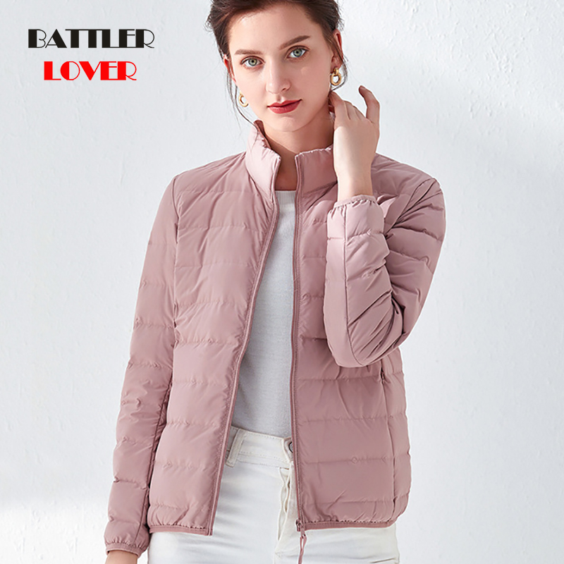 Woman Stand Collar Slim Short Ultra Light Down Jackets Female Winter Outwear Coat Parkas Plus Size 3XL Parka Mujer Invierno 2019